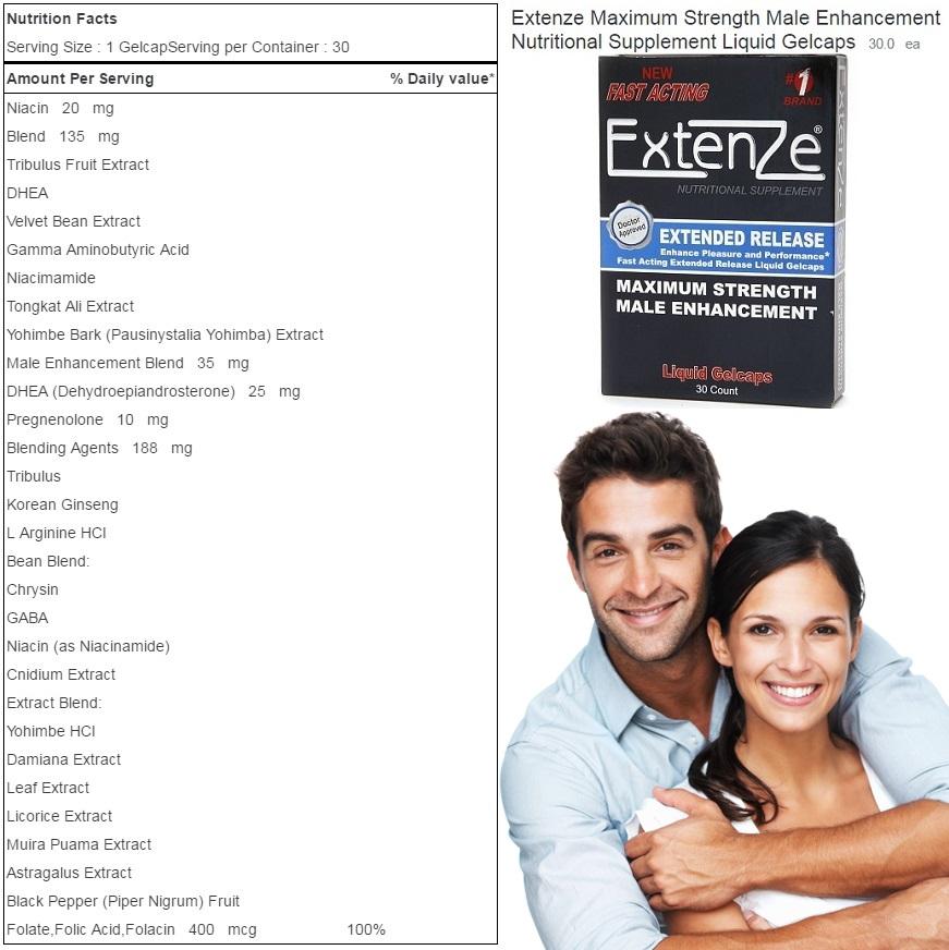 Extenze Supplement Facts